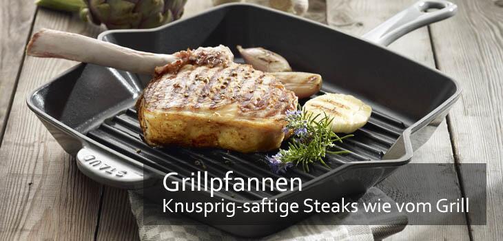 Grillpfannen - Knusprig & fettarm braten mit den typischen Grillstreifen