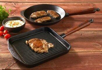Skeppshult Grillpfannen - Ideal zum fettarmen Braten von Steaks mit den typischen Grillstreifen