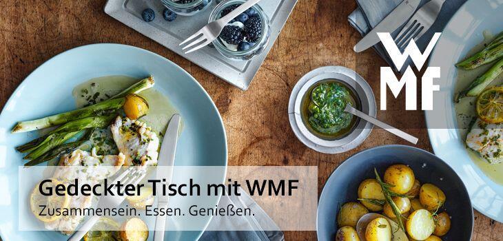Gedeckter Tisch mit WMF - Zusammensein. Essen. Genießen.