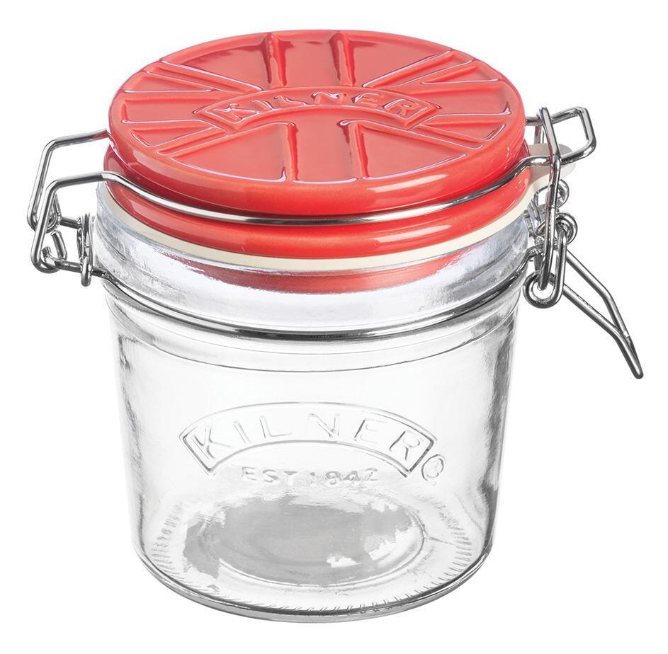 Kilner Clip Top Einmachglas mit rotem Keramikdeckel, 0,35 Liter