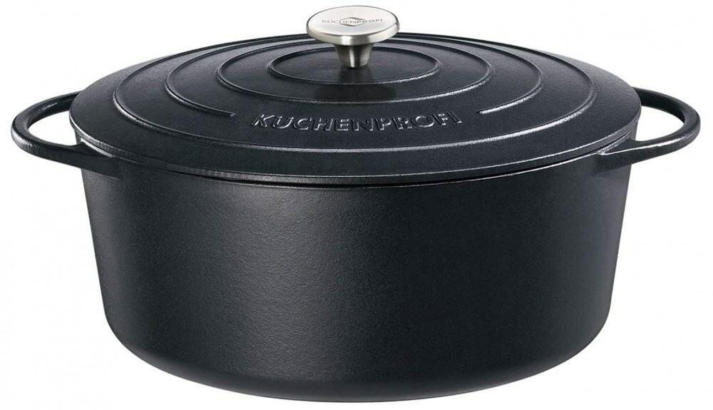 Küchenprofi Bratentopf oval aus Gusseisen in schwarz