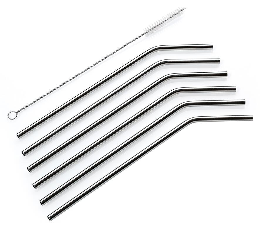 Cilio Trinkhalme Steel, 6er Set, gebogen