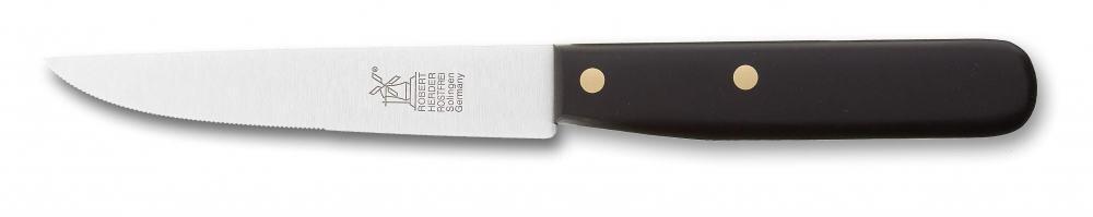 Windmühlenmesser Steakmesser Buckelsgriff in POM schwarz (rostfrei)