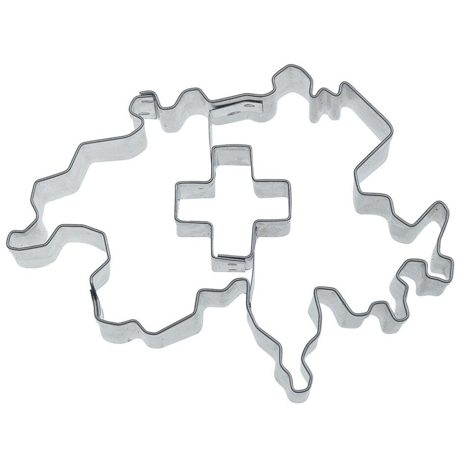 Städter Ausstechform Kontur Schweiz mit Kreuz 8,5 cm