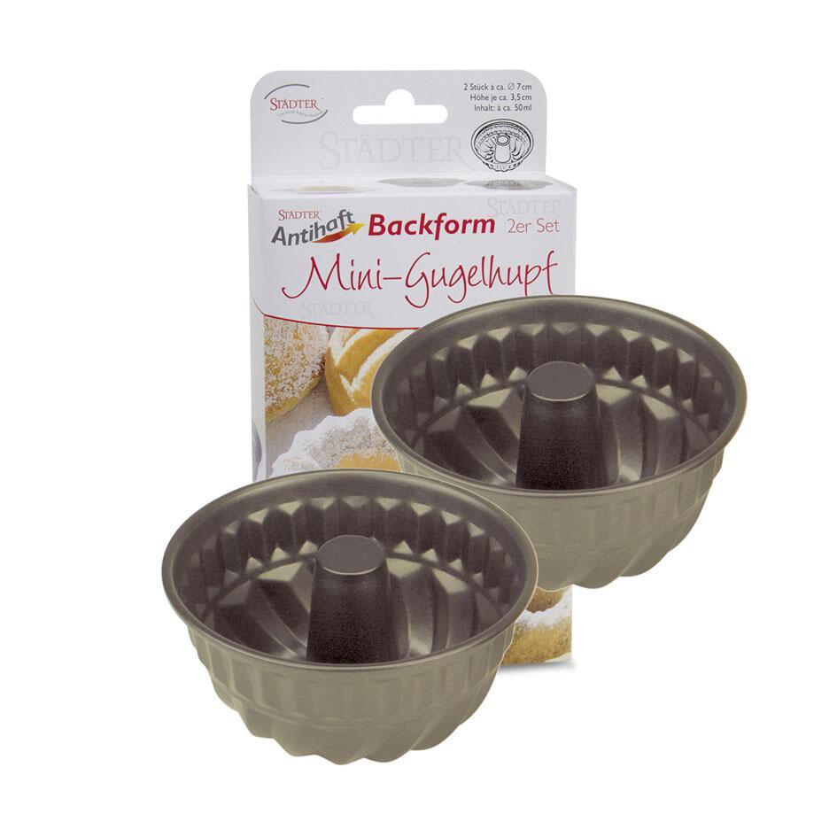 Städter Backform Gugelhupf Ø 7 cm / H 3,5 cm Mini 2 Stück 100 ml