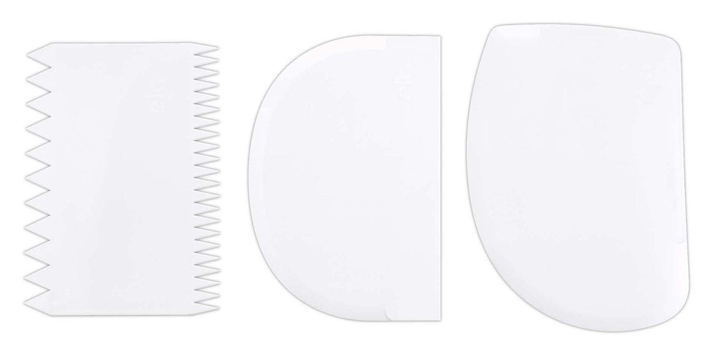 Städter Backhelfer Teigschaber 11–12,5 cm Weiß Set, 3-teilig