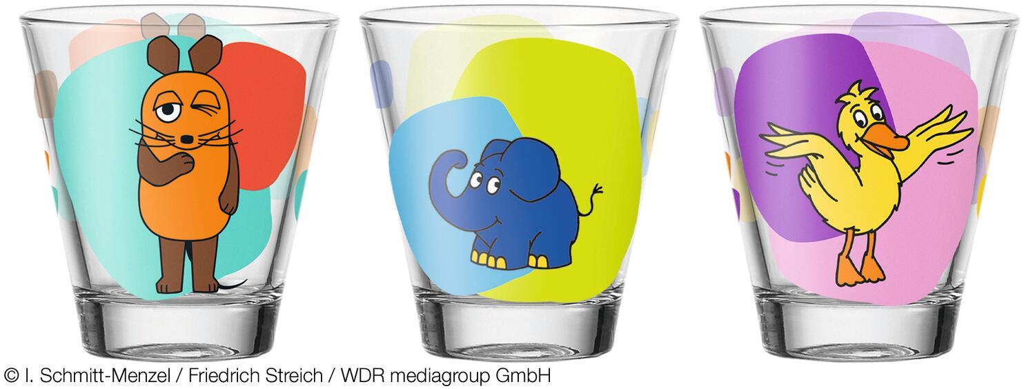 Leonardo Trinkglas BAMBINI 6 Stück sortiert 215 ml Maus, Elefant, Ente
