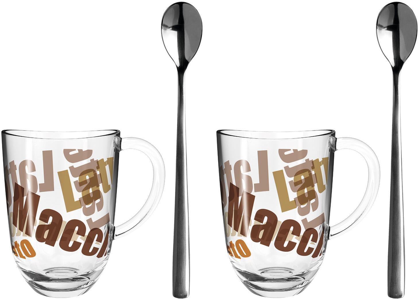 Leonardo 2 Latte Macchiato Tassen NAPOLI 380ml 3 farbig + 2 Löffel