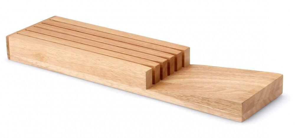 Continenta Messerblock aus Gummibaumholz für Schublade, unbestückt