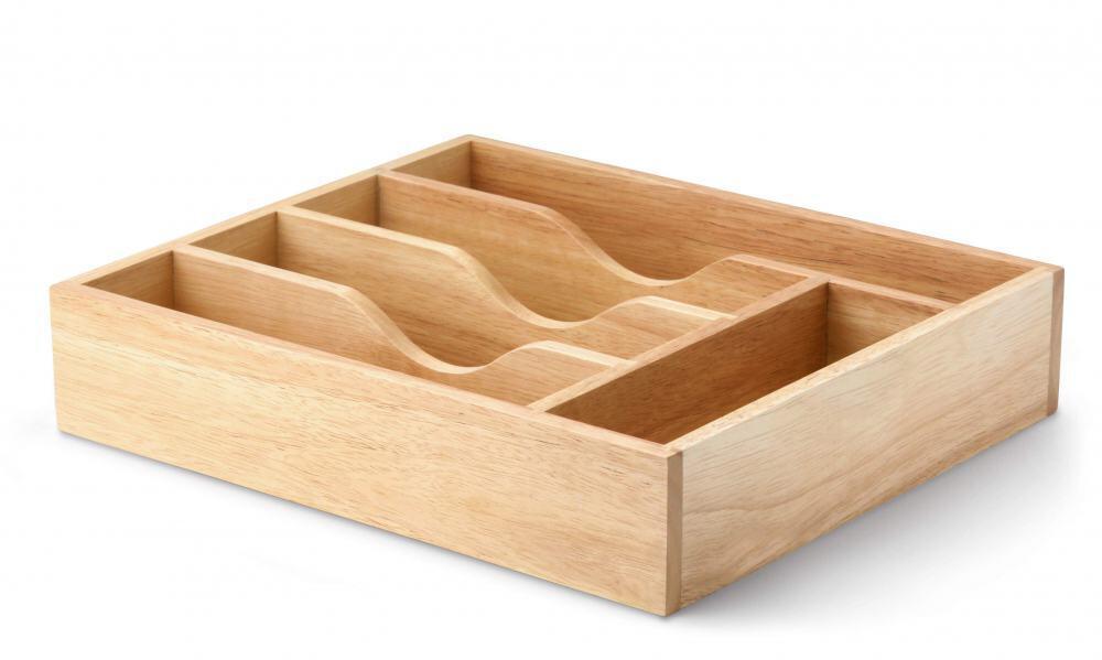 Continenta Besteckkasten aus Gummibaumholz