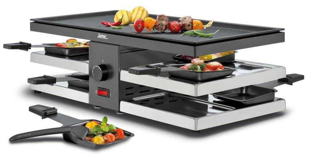 Spring Raclette8 Fun mit Alu-Grillplatte in schwarz