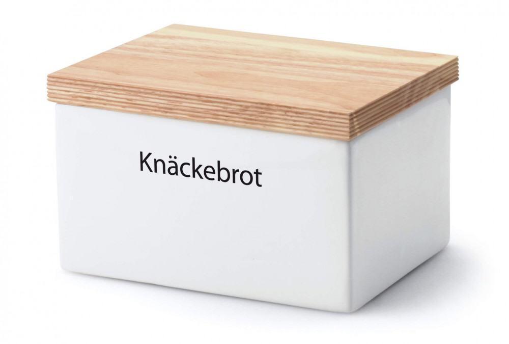 Continenta Vorratsdose rechteckig aus Keramik mit Holzdeckel