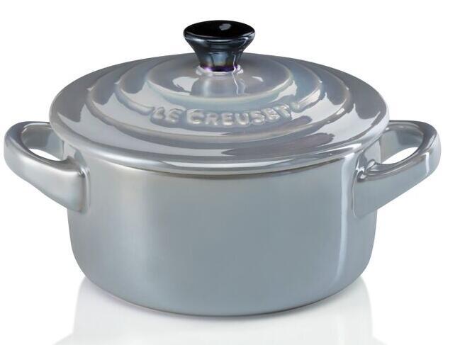 Le Creuset Mini Cocotte in perlgrau Metallic