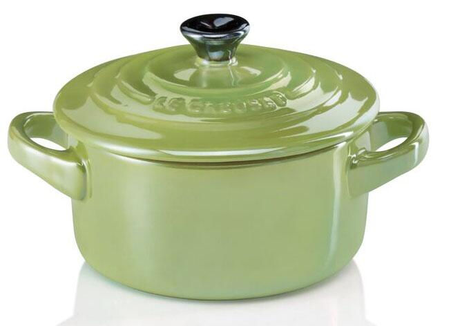 Le Creuset Mini Cocotte in palm Metallic
