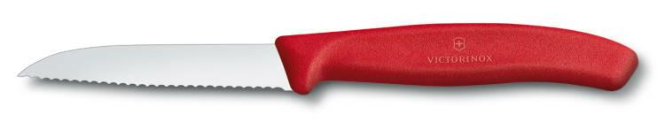Victorinox SwissClassic Gemüsemesser mit Wellenschliff, 8 cm, rot