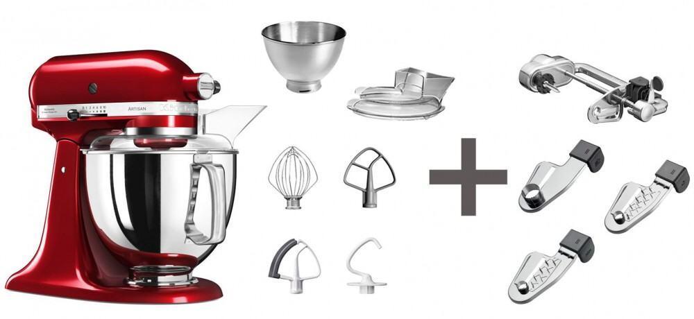 KitchenAid Küchenmaschine ARTISAN 175PS in empire rot mit Spiralschneider
