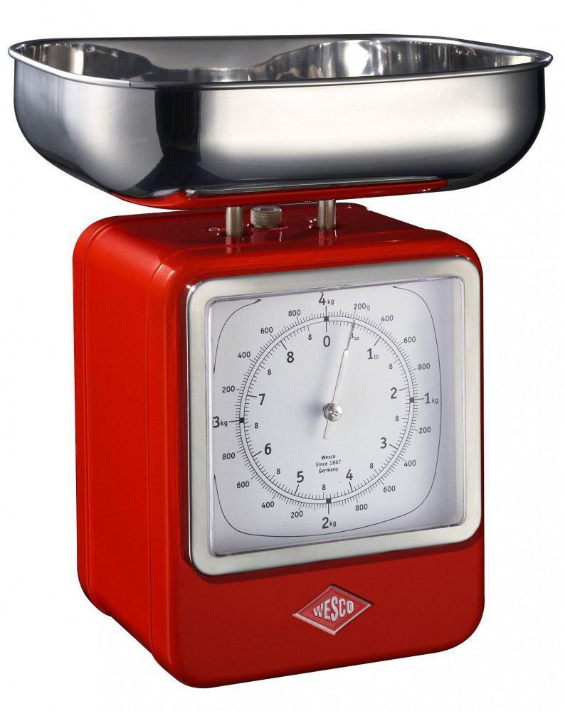 Wesco Küchenwaage Retro mit Küchenuhr in rot