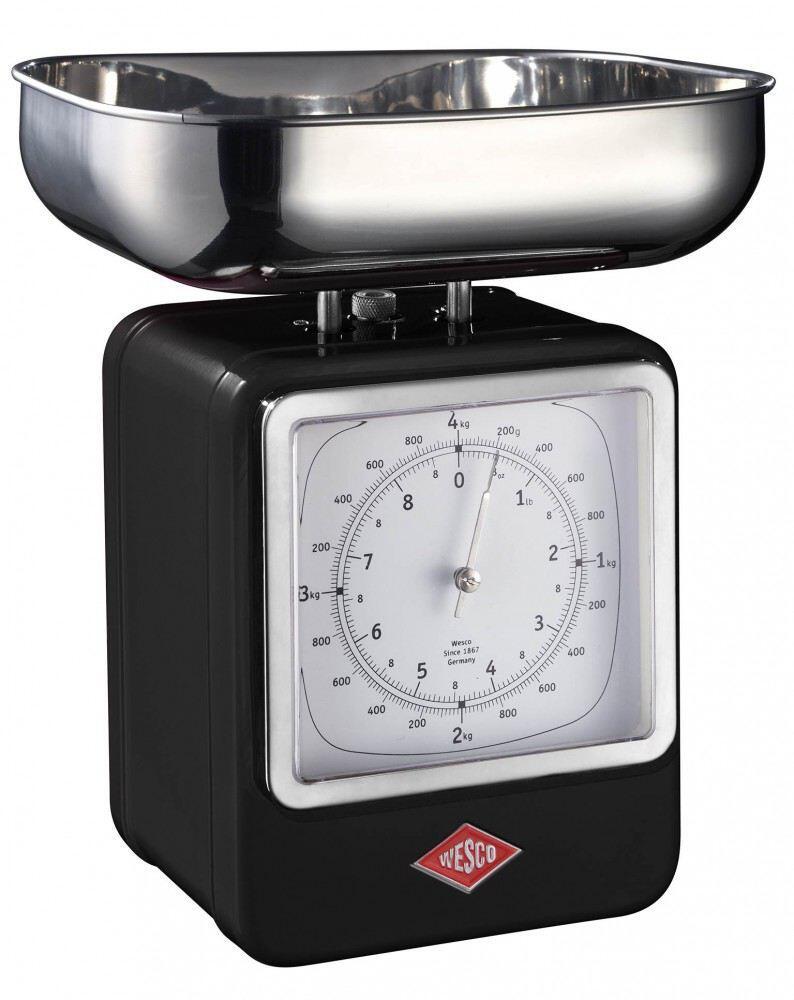 Wesco Küchenwaage Retro mit Küchenuhr in schwarz