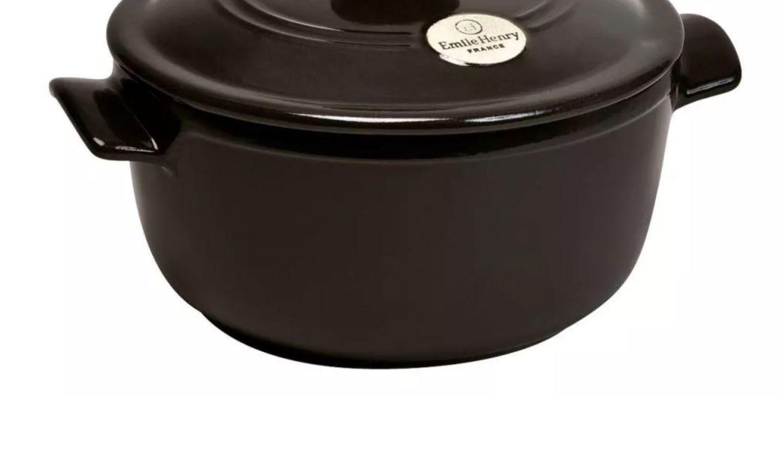 Emile Henry Ersatzunterteil für runder Schmortopf in schwarz
