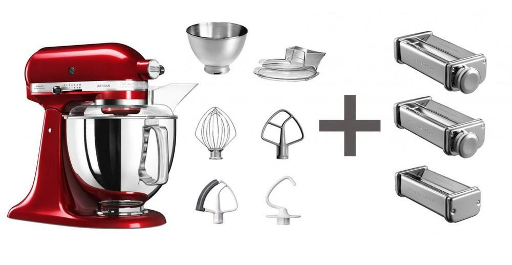 KitchenAid Küchenmaschine ARTISAN 175PS in empire rot mit Nudelvorsatz