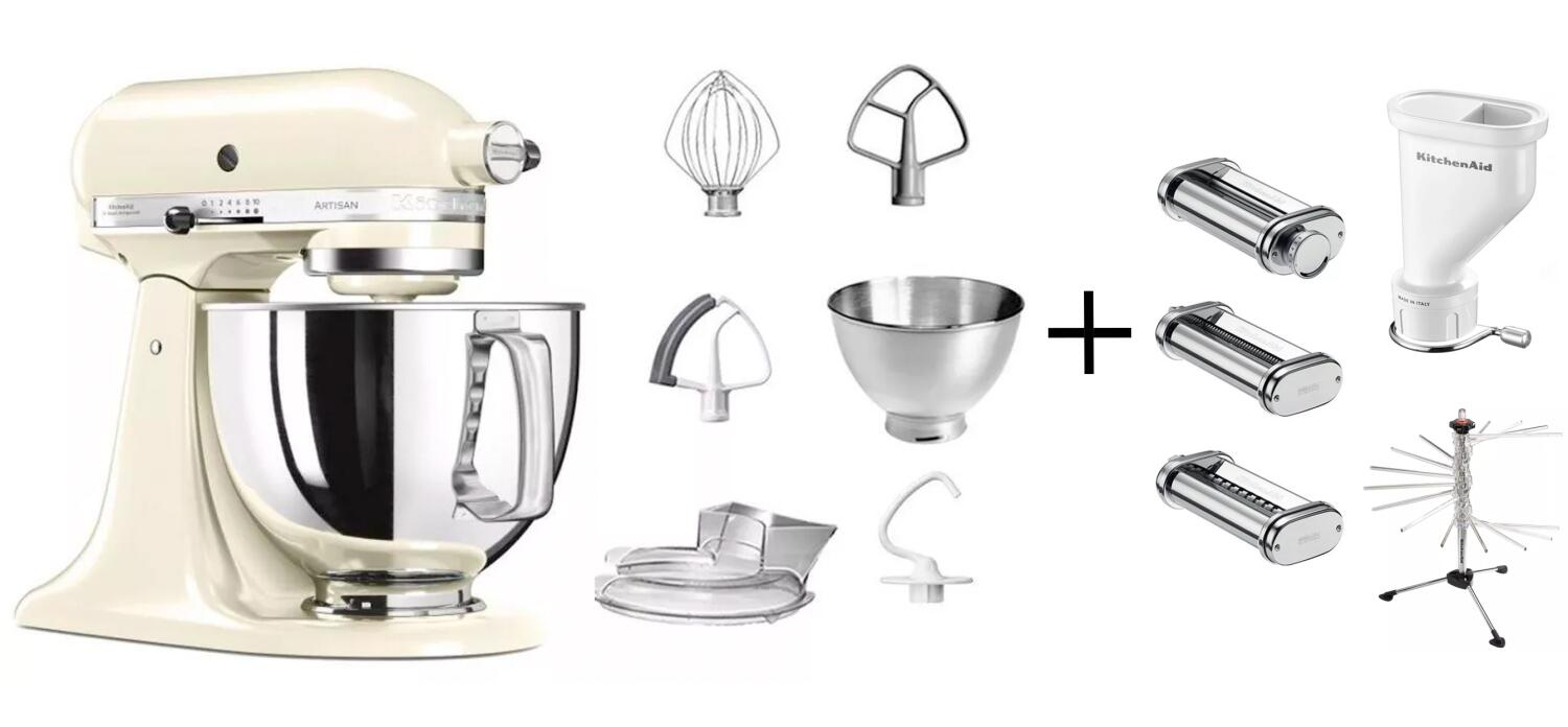 KitchenAid Küchenmaschine ARTISAN 175PS in creme Pastaprofi-Set
