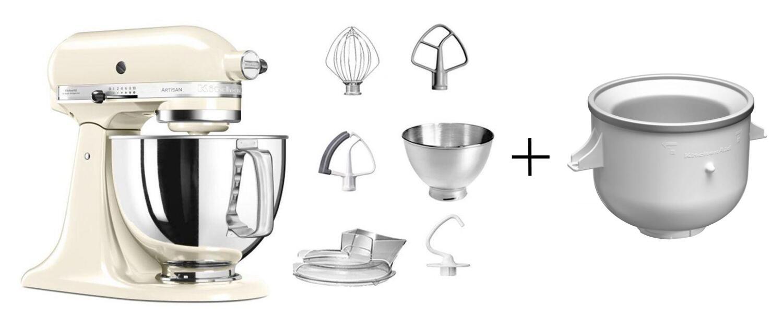 KitchenAid Küchenmaschine ARTISAN 175PS in creme mit Speiseeismaschine