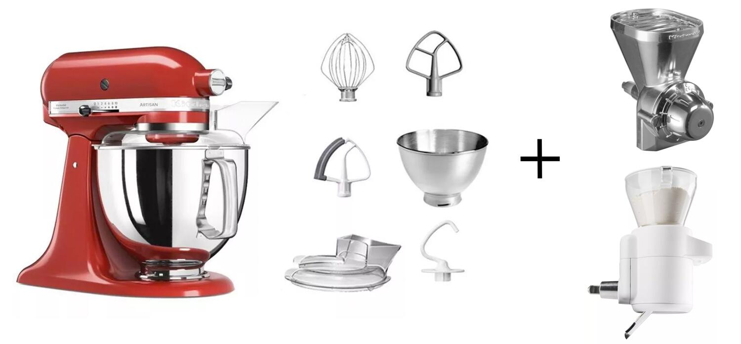 KitchenAid Küchenmaschine ARTISAN 175PS empire rot Backprofi-Set