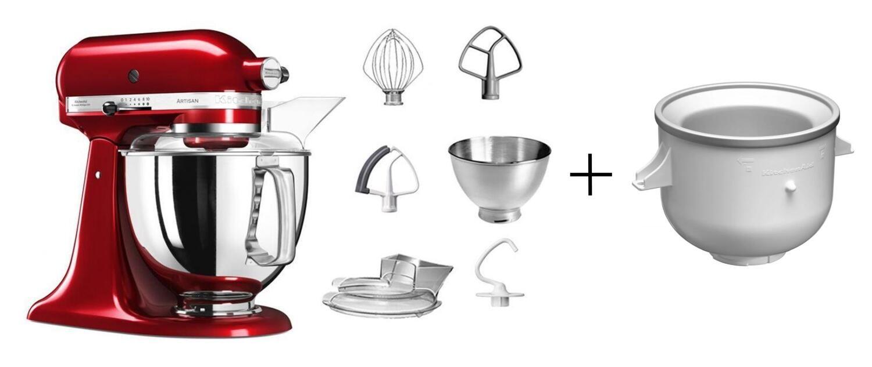 KitchenAid Küchenmaschine ARTISAN 175PS in liebesapfelrot mit Speiseeismaschine
