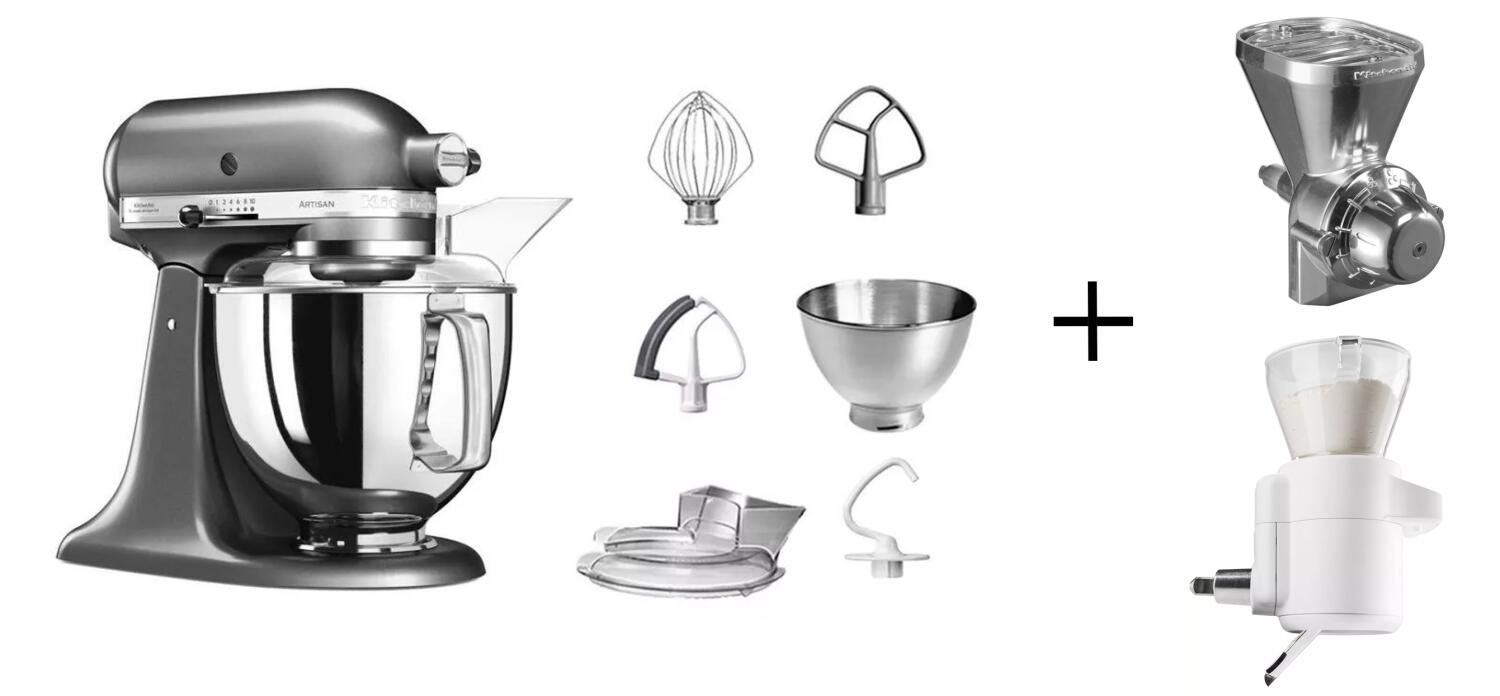 KitchenAid Küchenmaschine ARTISAN 175PS medallion silber Backprofi-Set