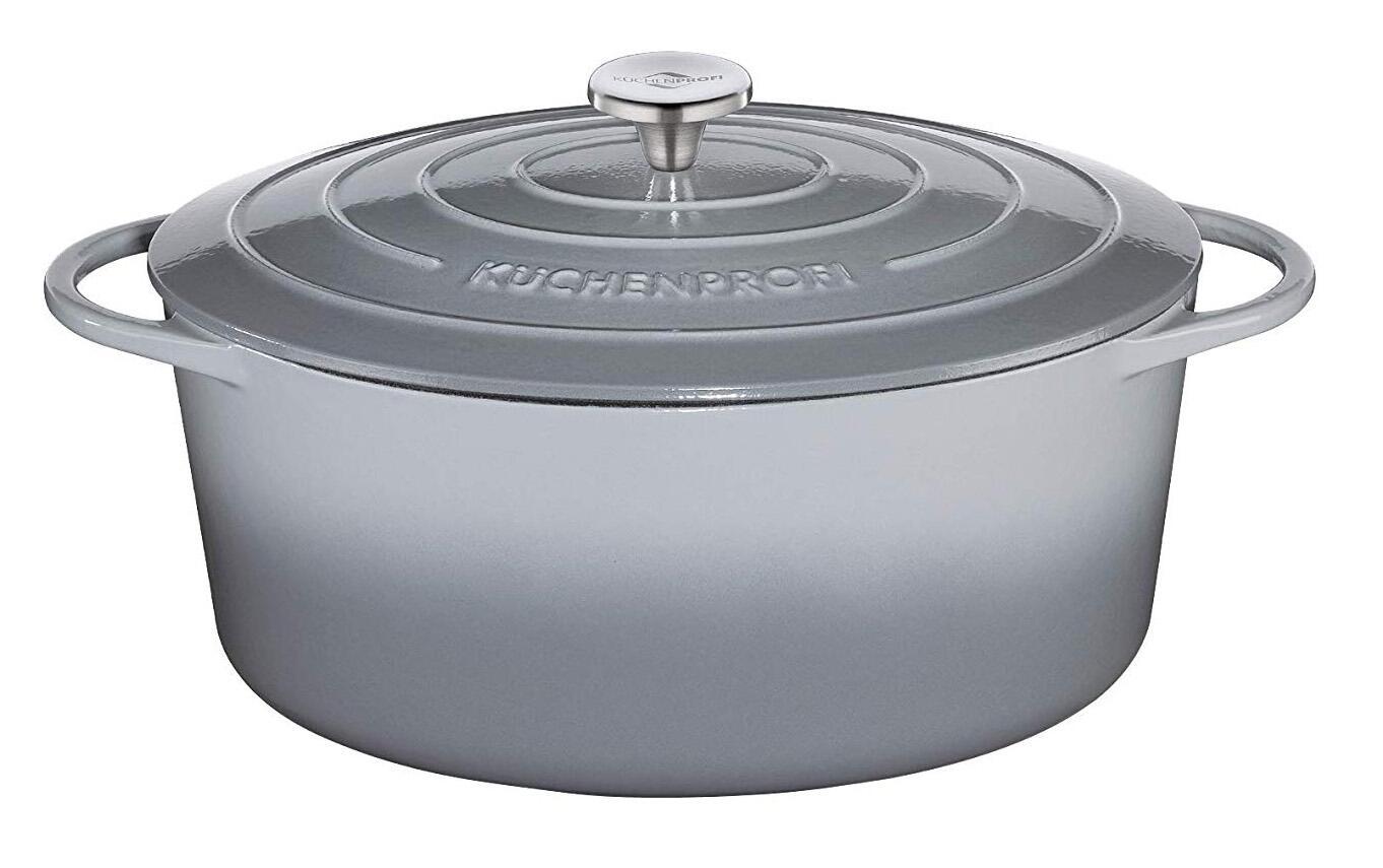 Küchenprofi Bratentopf oval aus Gusseisen in grau