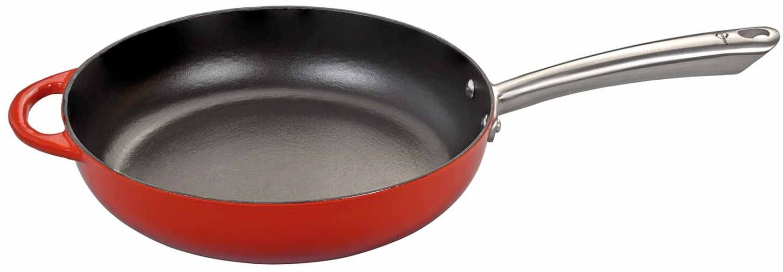 Küchenprofi Bratpfanne hoch aus Gusseisen in rot