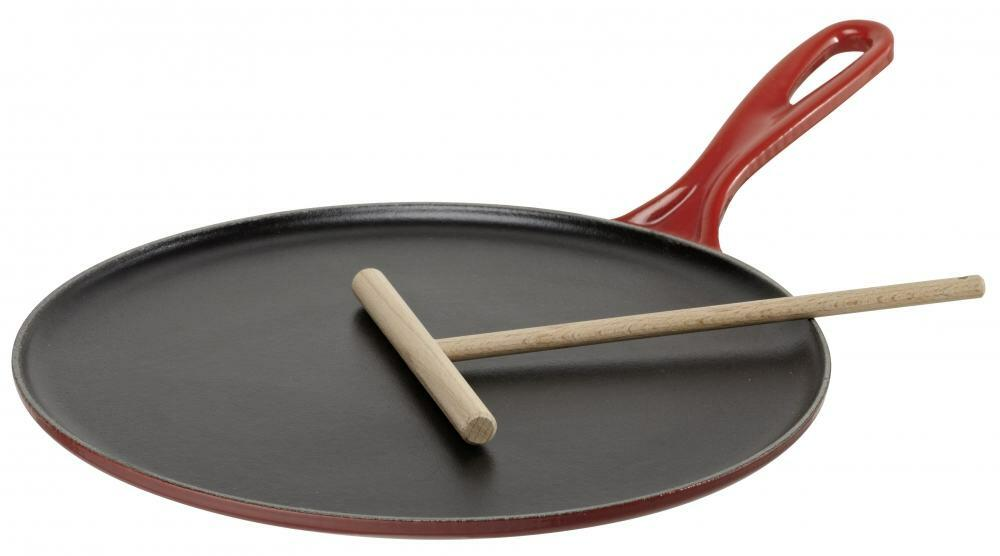 Le Creuset Crepes-Pfanne aus Gusseisen in kirschrot