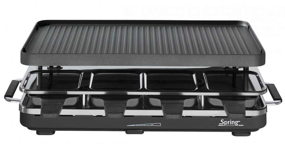 Spring Raclette8 mit Alu-Grillplatte in schwarz