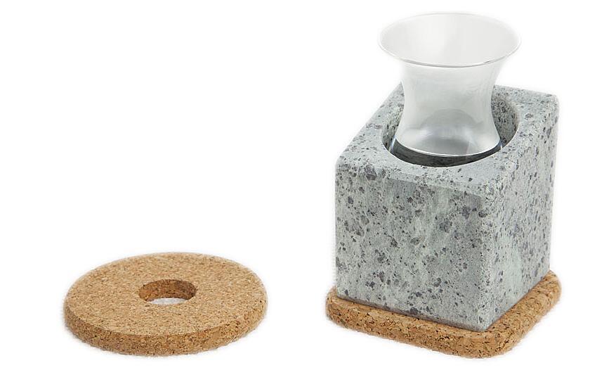 Täljsten Glaskühler aus Speckstein mit Trinkglas