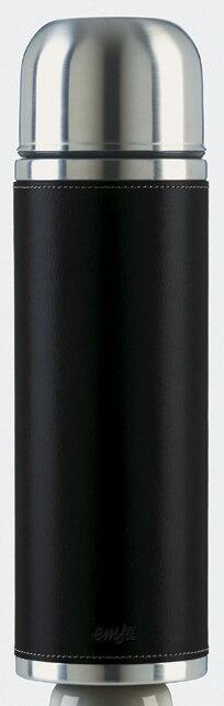 Emsa Isolierflasche Senator Class Edelstahl/Leder schwarz