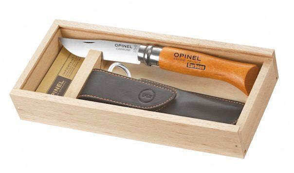 Opinel Messer, Größe 8, nicht rostfrei, Etui, in Holzbox