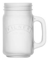 Kilner Trinkglas mit Griff in weiß, mattiert
