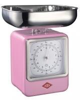 Wesco Küchenwaage Retro mit Küchenuhr in pink