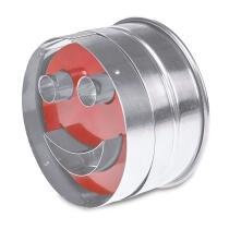 Städter Kunststoff-Ausstecher-Form Lachender Linzer Ø 6 cm Rot mit glattem und gewell zerlegbar, 5-teilig