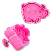 Städter Kunststoff-Ausstecher-Form Schwein 6 cm Pink / Purple