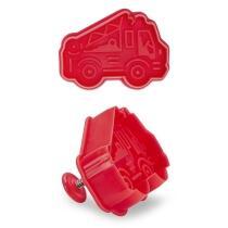 Städter Kunststoff-Ausstecher-Form Feuerwehrauto 6,5 cm Rot