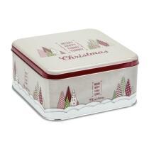 Städter Gebäckdose Yummy Christmas 21 x 21 cm / H 10 cm Bunt Quadrati