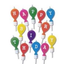 Städter Tortendeko Happy Birthday 2 x 5 cm Bunt mit Halter Set, 13-teilig