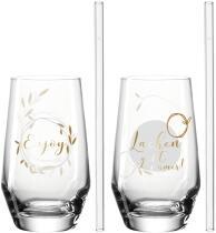 Leonardo 2 Trinkgläser + 2 Glastrinkhalme PRESENTE 365 ml 'Lachen'