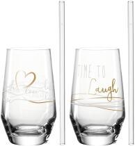Leonardo 2 Trinkgläser + 2 Glastrinkhalme PRESENTE 365 ml 'Laugh'