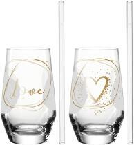 Leonardo 2 Trinkgläser + 2 Glastrinkhalme PRESENTE 365 ml 'Love'