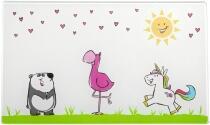 Leonardo Brettchen aus Glas BAMBINI 25x15 Flamingo/Einhorn/Panda, 4er-Set