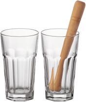 Leonardo Longdrinkgläser/Stößel BAR 3-teilig 540 ml