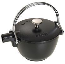 Staub Teekanne und Wasserkessel aus Gusseisen in schwarz