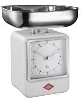 Wesco Küchenwaage Retro mit Küchenuhr in weiß